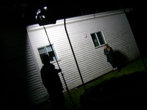 Lighting Brittney Jean Blake for a scene at night.